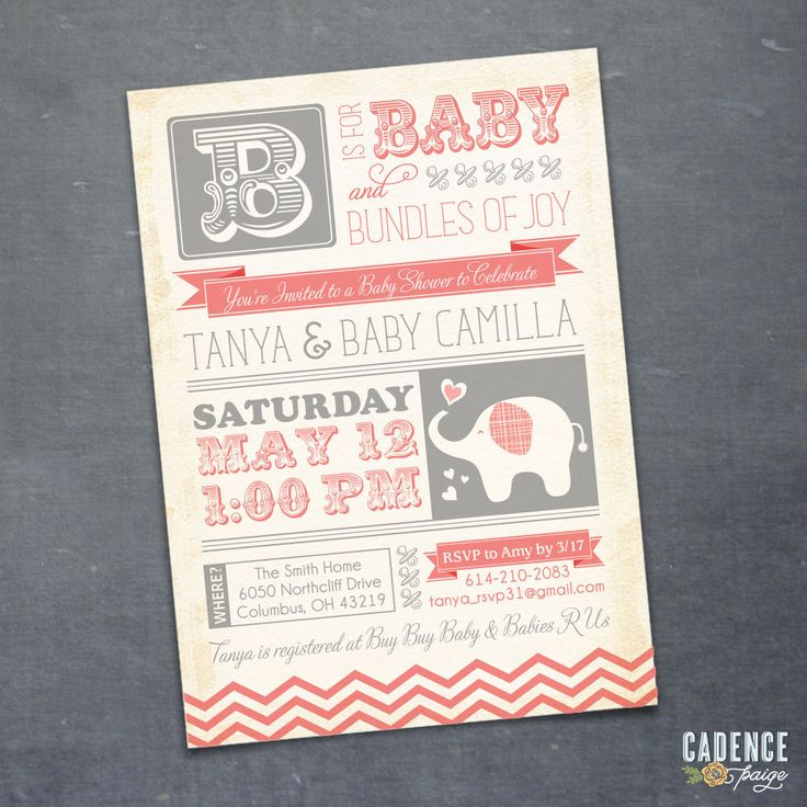 jungle theme baby shower invitation sayings%0A Baby Shower Invitation  Elephant Baby Shower  Vintage Baby Shower Invitation   PRINTABLE