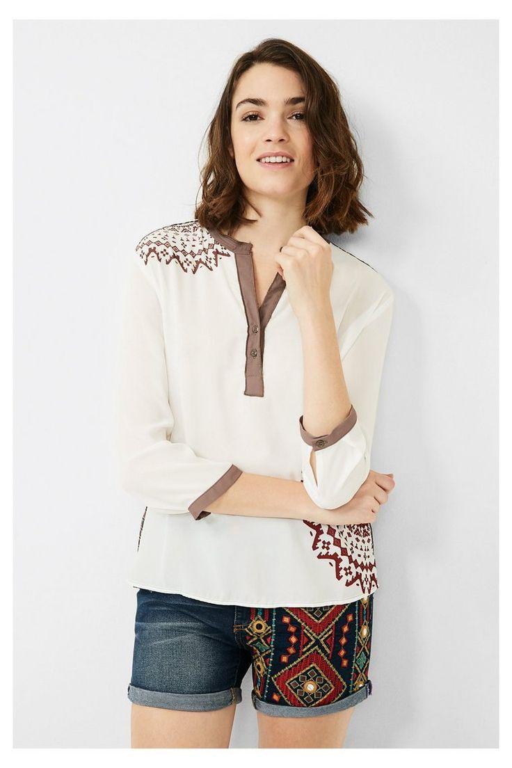Blusa blanca y marrón Desigual. ¡Descubre la colección otoño-invierno 2016!