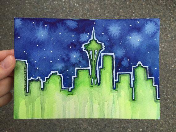 Seattle Skyline Night Watercolor Silhouette Art by OlechkaDesign