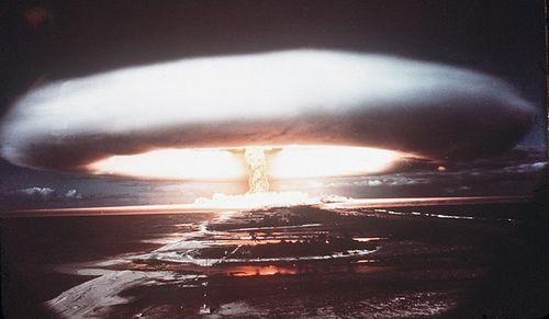 An Atomic Bomb being set off on Mururoa Atoll.