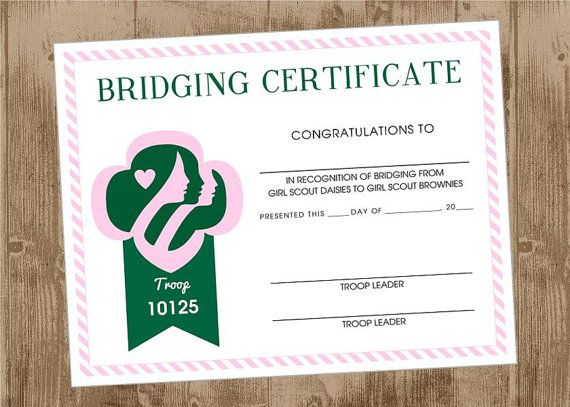 Girl Scout Printable Bridging Certificate - pink and Green ...