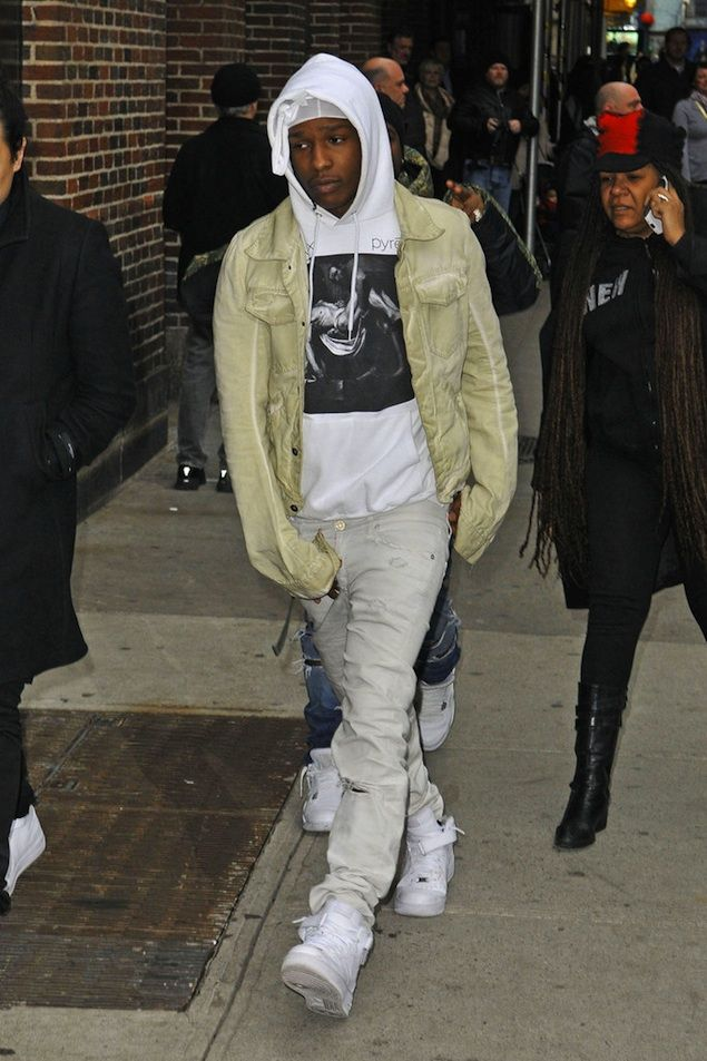 ASAP Rocky wearing Rick Owens Jacket, Pyrex Religion Hoodie, and Nike Air  Force 1