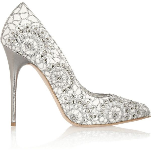 Alexander McQueen Crystal-embellished embroidered suede pumps found on Polyvore