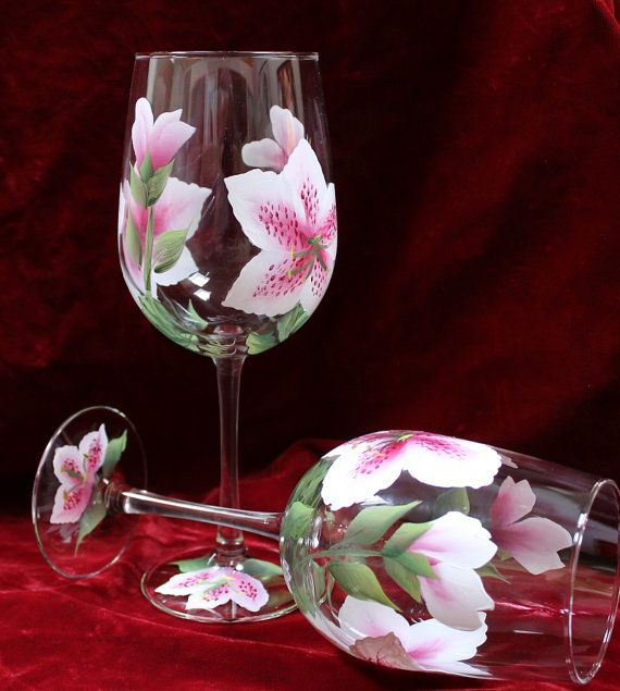 Hand Painted Wine Glasses (Set of 2) - Pink and White Stargazer Lily