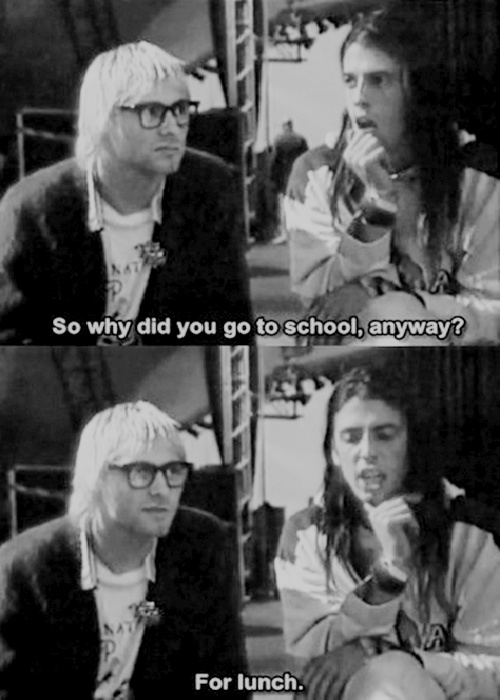 Kurt Cobain and Dave Grohl being cute.