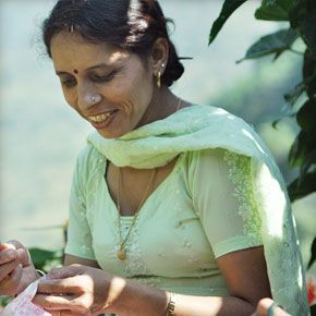 Shushma busy adding the finishing touches to your orders! These talented women are both locals from Dharamsala, and are experts at hand stitching, beading, embroidery and making hair clips!  Find out more at http://eternalcreation.com/tailor-index
