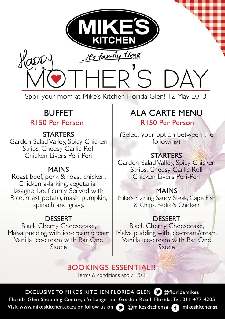 Mikes Kitchen Florida Glen Mothers Day - Bookings Essential