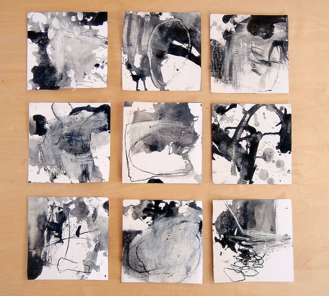 """9 drawings in response to a poem """"measurable"""" by dswoo (2011) Acrylic and charcoalon paper 150x150mm by mayakonakamura, via Flickr"""