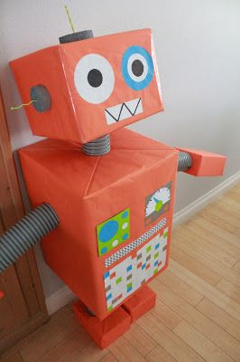 Robot Party  Wrap different size boxes using color scheme to create effect