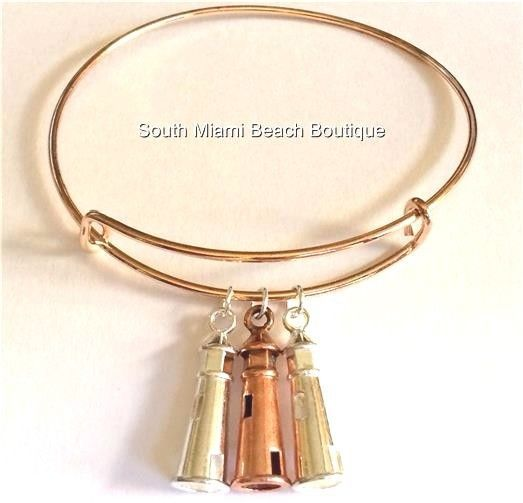 Silver Plated Copper Lighthouse Charm Bracelet Nautical Island Boat USA Seller #SouthMiamiBeachBoutique #SlideSlider