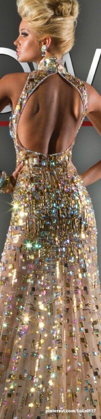 Tony Bowls tasarımı sırt pencereli parlak elbise