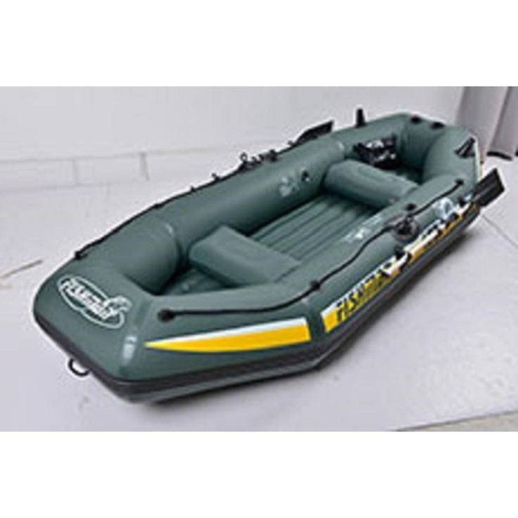 "Pool Central 116"" Green and Yellow ""Fishman II 400"" Three Person Inflatable Boat Set 32151306"