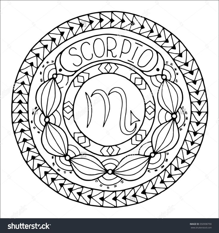 And Constellation In Mandala With Ethnic Pattern Black White Icon Horoscope Zodiacal Template Can Be Used For Magazine Coloring Book