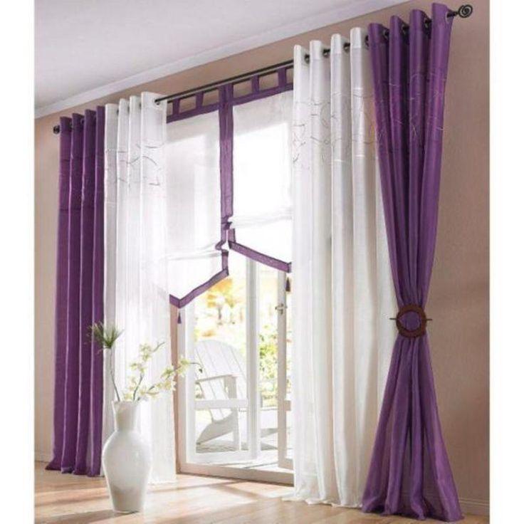 Voile / Vorhang »Korsika« in lila mit Kräuselband in 3 Größen NEU****