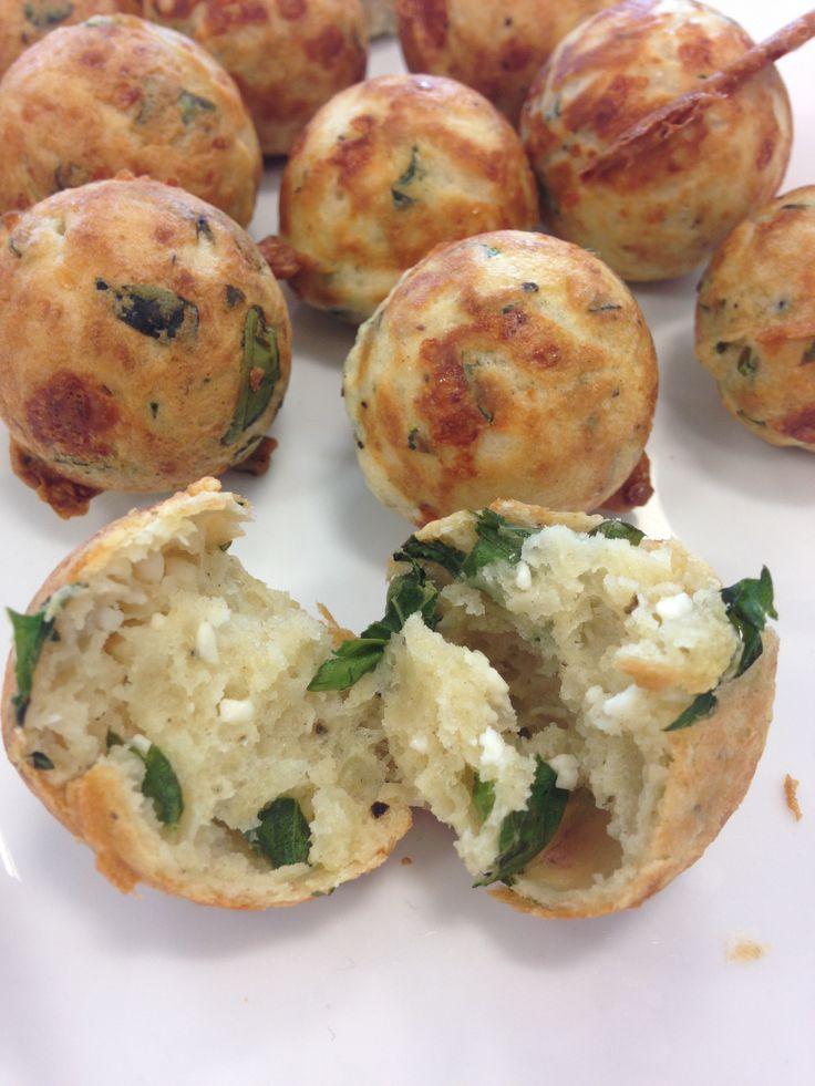 Feta cheese & basil bites made in the Gourmet Gadgetry cake pop maker!