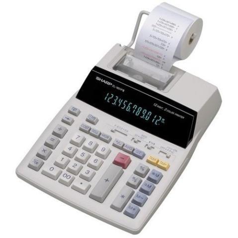 CALCULADORA SHARP N-EL-1801.  Calculadora de mesa   - 12 dígitos   - 1 memória operativa independente   - Seletor para operar a calculadora com impressão em papel ou somente utilizando o visor   - Velocidade de impressão:  2,1 linhas/segundo   - 2 cores de impressão:   Preta e vermelha.
