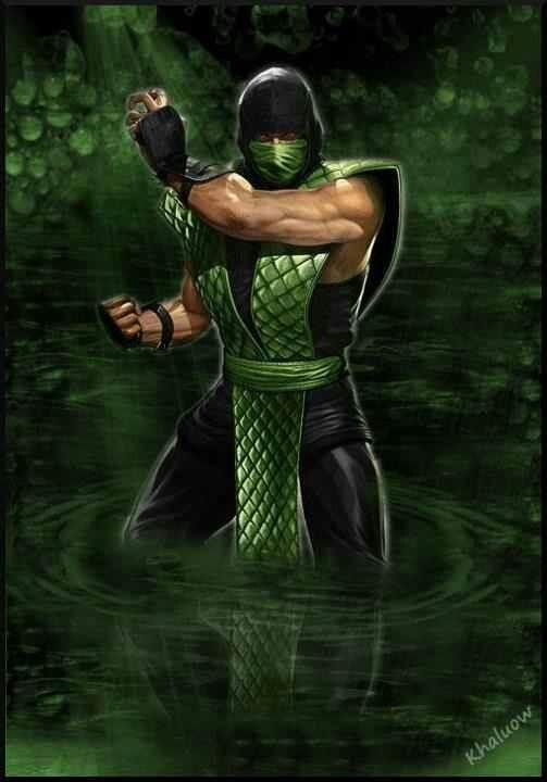 Mortal Kombat Reptile painting. pretty sick