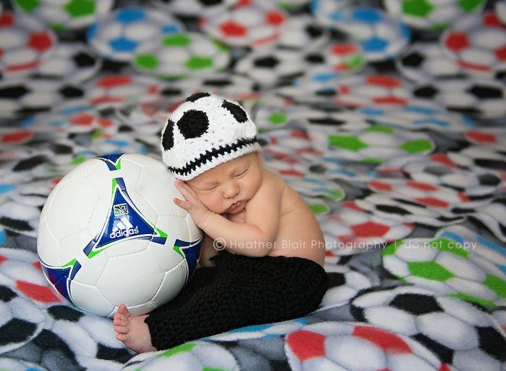 Newborn Or 03M Soccer Beanie Photo Prop by BriarRoseCraftyThing, $25.00