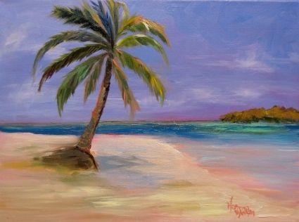 Norma Wilson Original Oil Seascape Palm Tree Beach Art, painting by artist Norma Wilson