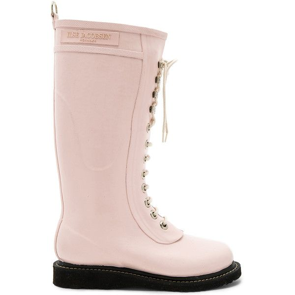 ILSE JACOBSEN Long Rubber Boot ($120) ❤ liked on Polyvore featuring shoes, boots, mid-calf boots, waterproof boots, waterproof wellington boots, mid calf lace up boots and lace up boots