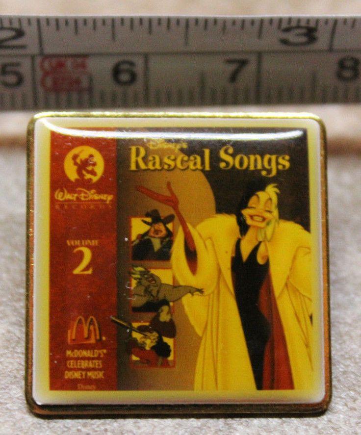 McDonalds Disney Rascal Songs Volume 2 Employee Collectible Pinback Pin Button #…