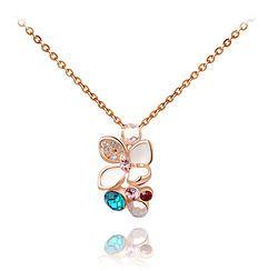 Gold Gem Pearlescent Flower Pendant Necklace