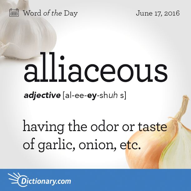 Dictionary.com's Word of the Day - alliaceous - having the odor or taste of garlic, onion, etc.