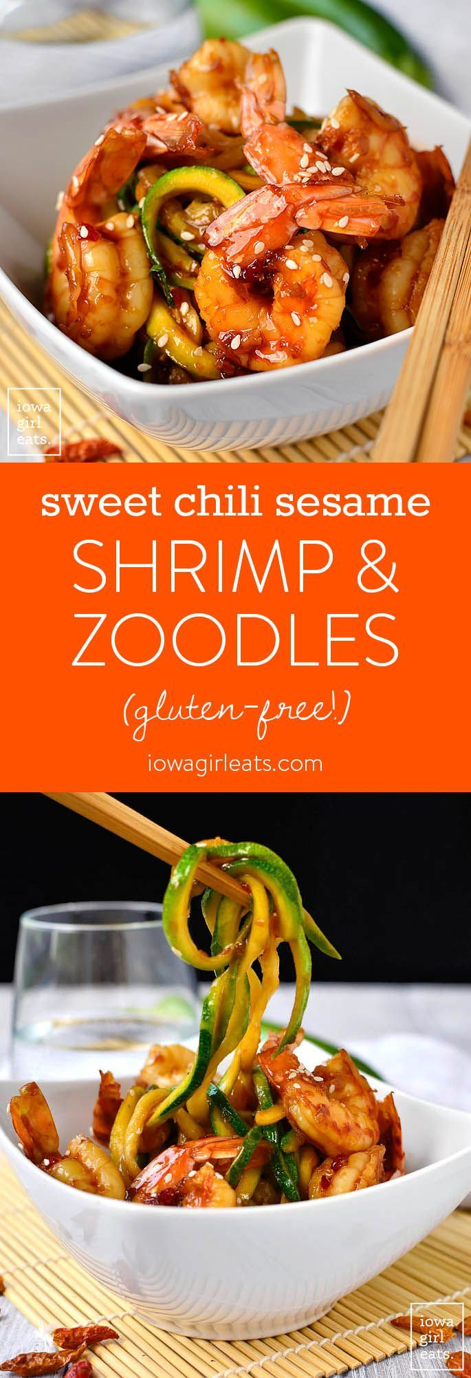 Sweet Chili Sesame Shrimp and Zoodles takes minutes to cook and is full of tongue-tingling flavor. This light and healthy gluten-free recipe calls for just 5 ingredients!  | iowagirleats.com