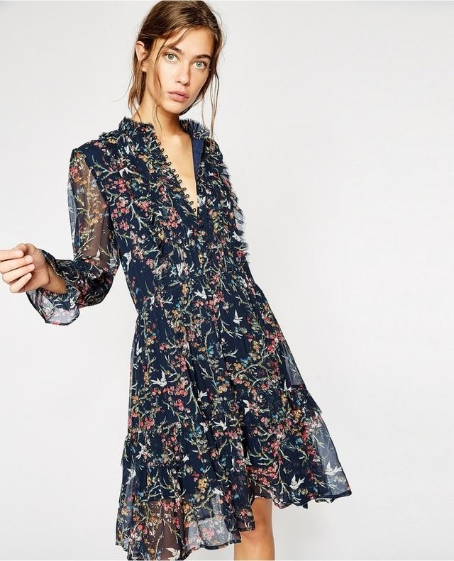 0afeaadeaa3 The Kooples | Loose-fitting blue bird print dress in crepe silk muslin