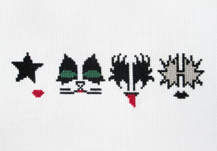 KISS Rock Band Face Paint Counted Cross Stitch by SnailCrossing