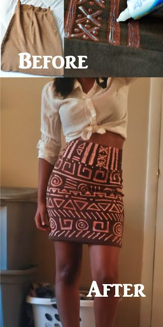 bleach pen used to update skirt with tribal pattern