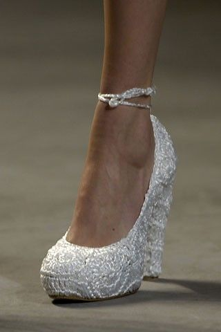 Wedges are more comfortable for the big day!: John Galliano, Wedding Shoes, Wedding Wedges, Wedding Heels, White Wedges, Bride, My Wedding, Big Day, Walks In