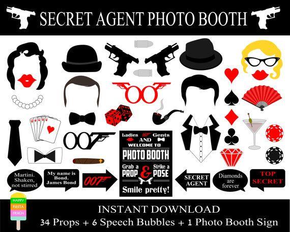 James Bond Photo Booth Props 41 Pieces 34 par HappyFiestaDesign