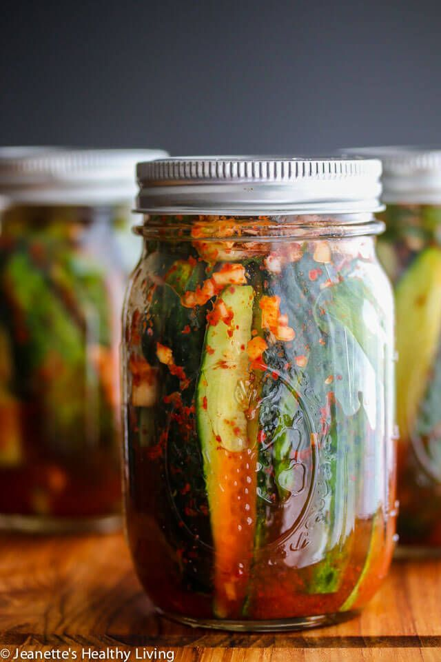 Spicy Korean Cucumber Kimchi Refrigerator Pickles by jeanetteshealthyliving: Spicy and a little sour, these pickles are easy to make - Leave them out on the counter to ferment for one day, then refrigerate them. #Pickles #Kimchi