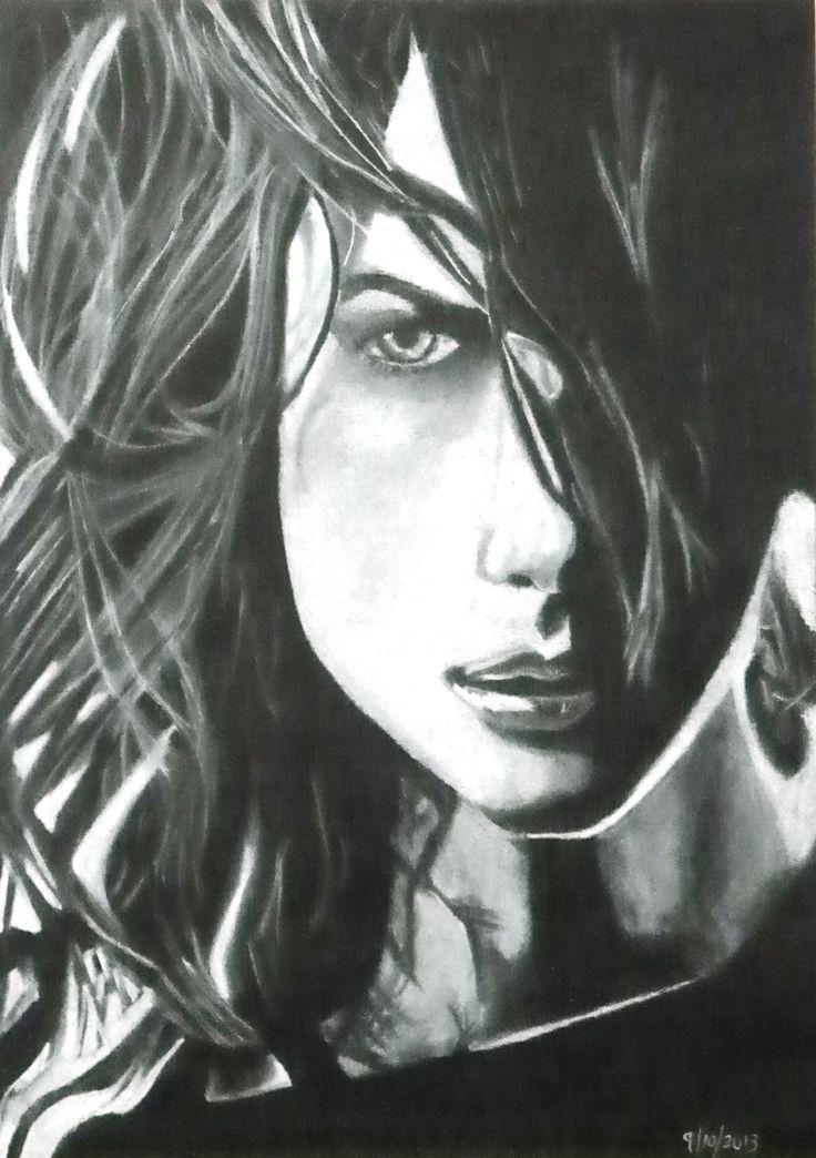 White pastel on black paper