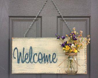 Rustico segno di benvenuto all'aperto nel segno di RedRoanSigns