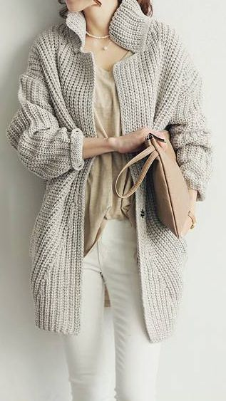 Neutral cable knit sweater