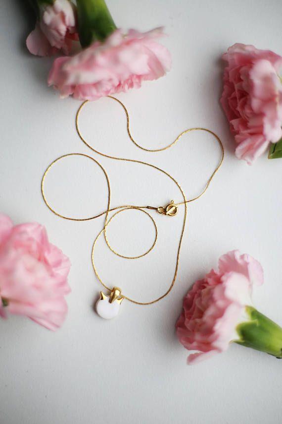 Cat necklace Cat pendant necklace Gold plated necklace Ceramic