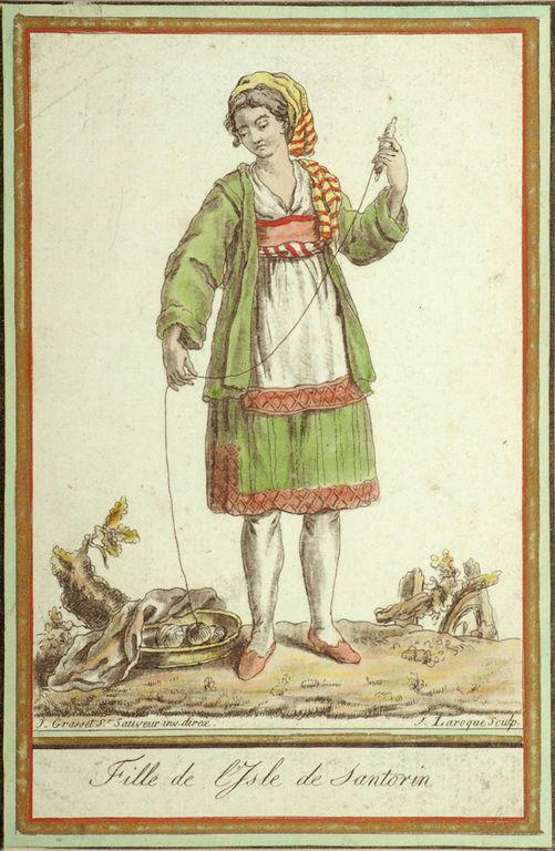 Claude Louis Desrais (1746-1816)-Γυναίκα της Σαντορίνης με τοπική ενδυμασία