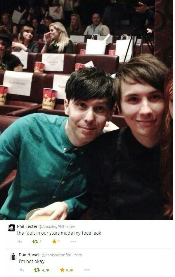Phan about to watch TFIOS.>> DANIEL JAMES HOWELL, I SEE THE REFERENCE, YOU CAN'T SNEAK THAT PHRASE WITHIN 100 YARDS OF AN EMO