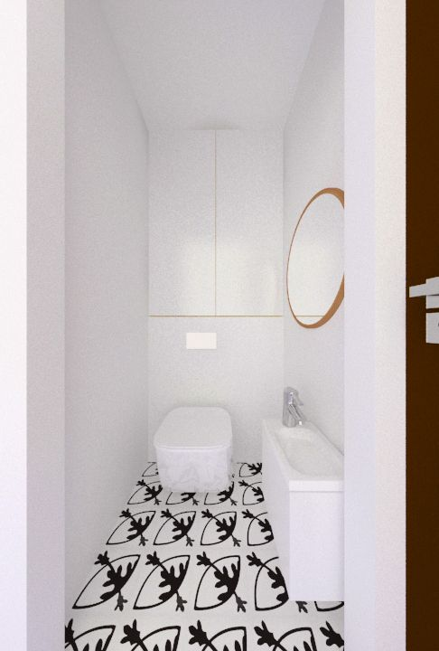 white small toilet, Vives Rotjen Basalto tiles