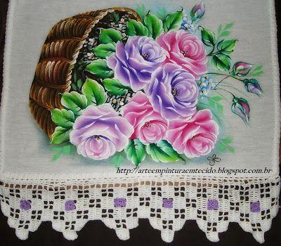 Cesta de Rosas Com passo a passo Pintura em Tecido - Pintura em Tecido Passo a Passo Com Fotos