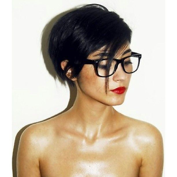 Super cute short hair with glasses!