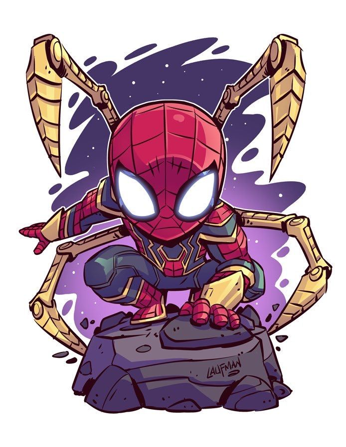Cute Spider Man In Iron Spider Suit Avengers Infinity War Chibi Marvel Marvel Cartoons Marvel Drawings