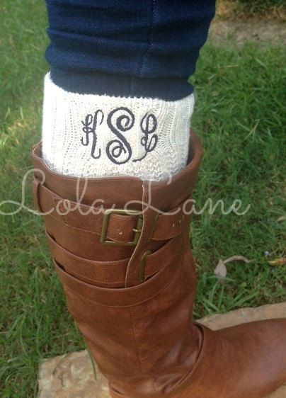 sorry not sorry.... I'll wear a monogram on any article of clothing. Monogrammed Boot Sock by LolaLaneGifts on Etsy, $20.00