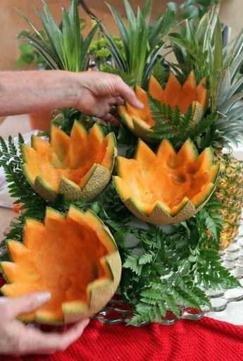 cascading+fruit+displays | Arrange large leatherleaf ferns on tall, 'back' side of the ...