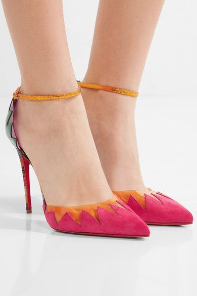 Heel measures approximately 100mm/ 4 inches Bubblegum suede, dark-green and gold leather, yellow and purple PVC Buckle-fastening ankle strap Made in Italy