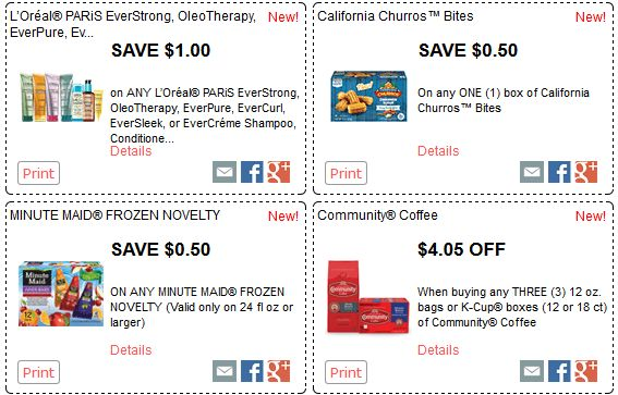 REDPLUM $$ New Printable Coupons Available – L'Oreal, California Churros Bites, Minute Maid Frozen Dovelty, Community Coffee & More!