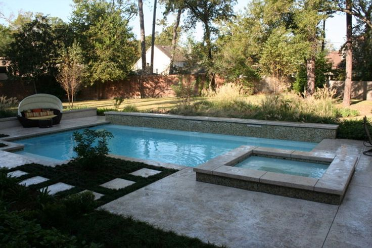 Rectangle pools google search pool pinterest before and after pictures home renovation - Rectangle pool with water feature ...