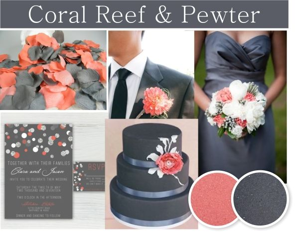Coral Reef and Pewter wedding colors. Coral and gray wedding